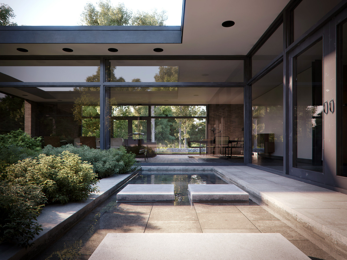 Courtyard house casa patio philip johnson iispaces for Piani casa patio